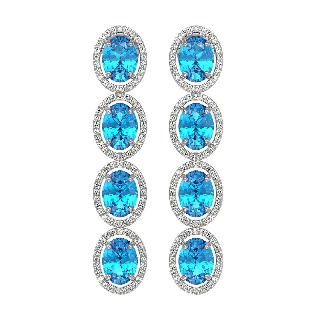 14.76 CTW Swiss Topaz & Diamond Halo Earrings 10K White