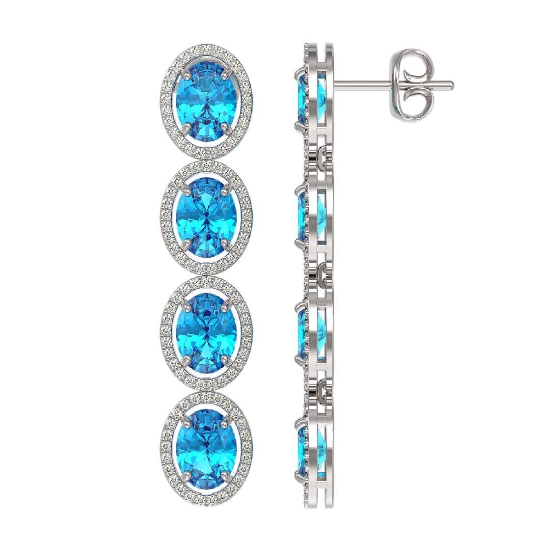 14.76 CTW Swiss Topaz & Diamond Halo Earrings 10K White - 2