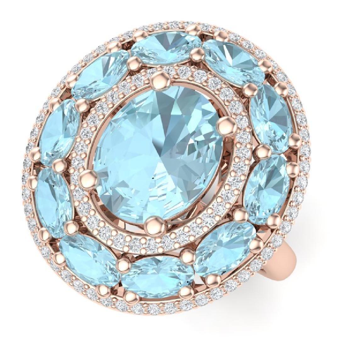 8.47 CTW Royalty Sky Topaz & VS Diamond Ring 18K Rose