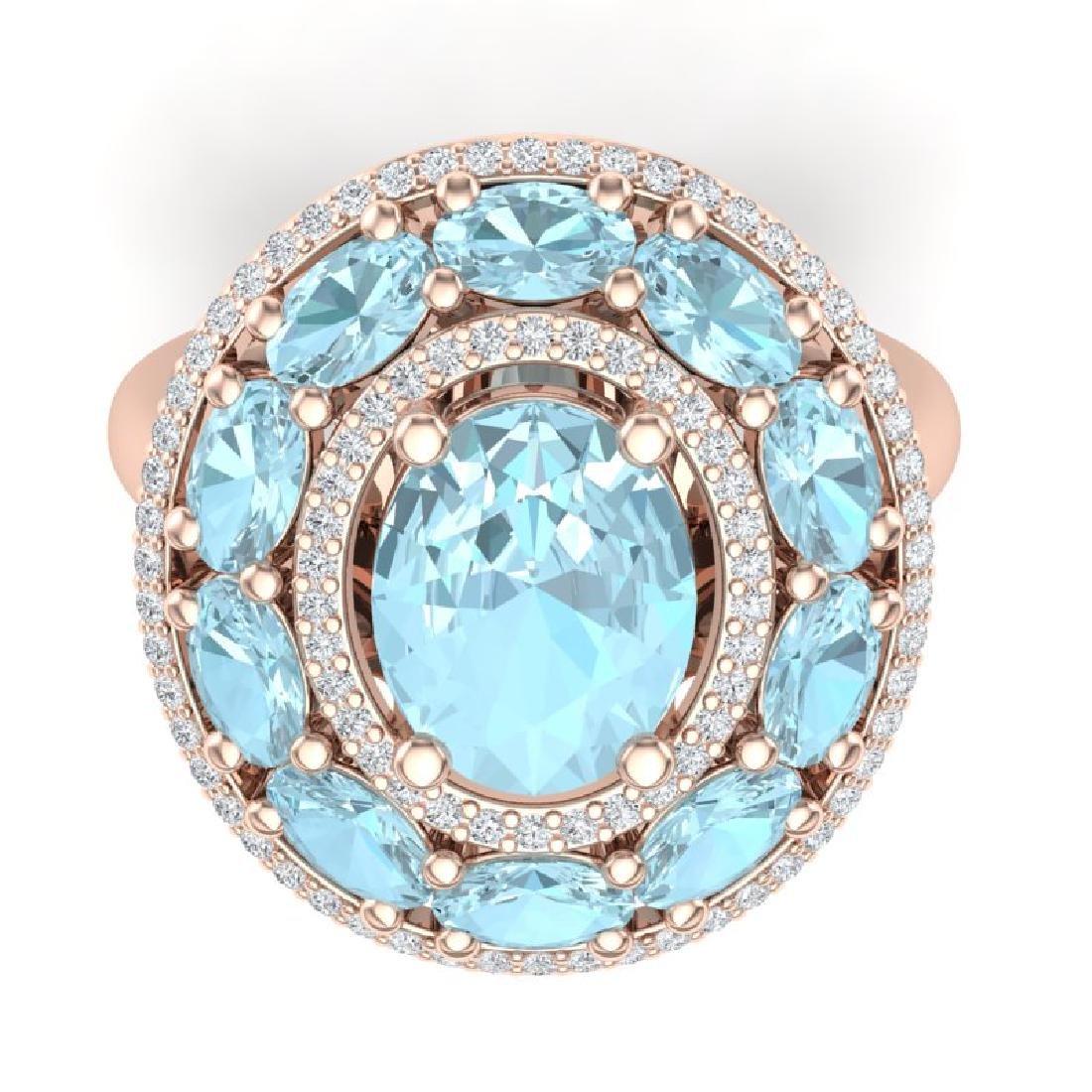 8.47 CTW Royalty Sky Topaz & VS Diamond Ring 18K Rose - 2