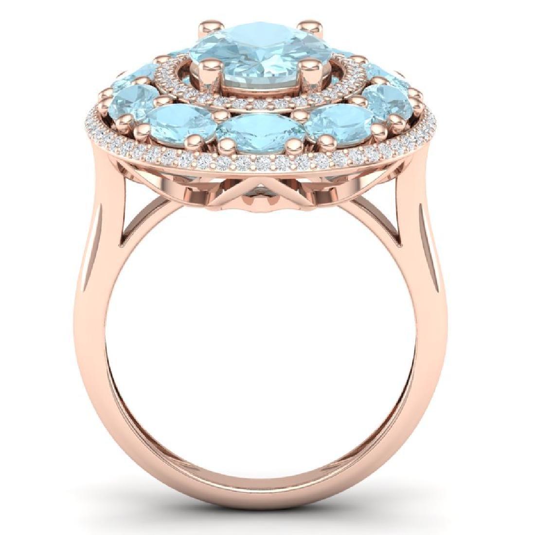 8.47 CTW Royalty Sky Topaz & VS Diamond Ring 18K Rose - 3