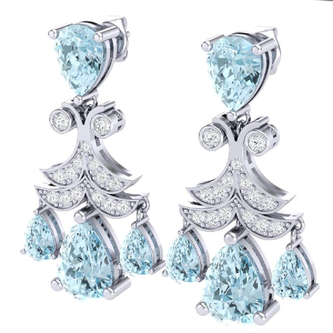 11.35 CTW Royalty Sky Topaz & VS Diamond Earrings 18K - 2