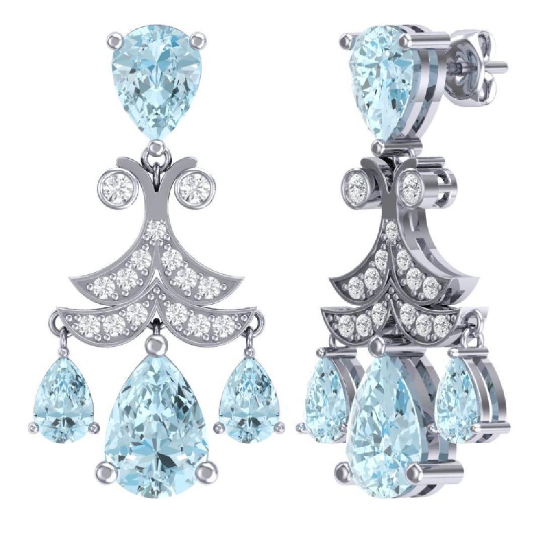 11.35 CTW Royalty Sky Topaz & VS Diamond Earrings 18K - 3