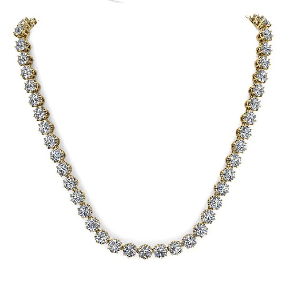 40 CTW SI Certified Diamond Necklace 14K Yellow Gold - 3