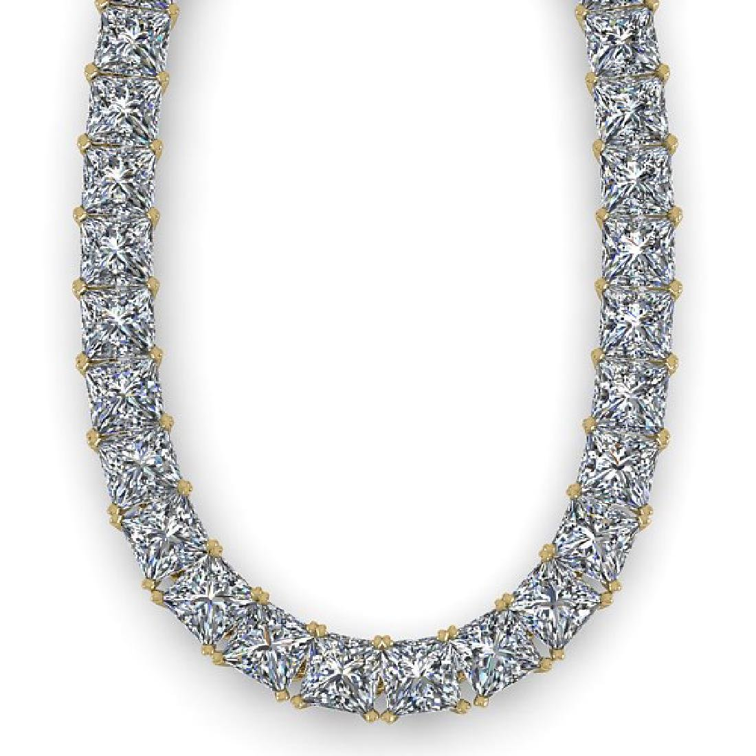 50 CTW Princess Certified SI Diamond Necklace 14K - 2