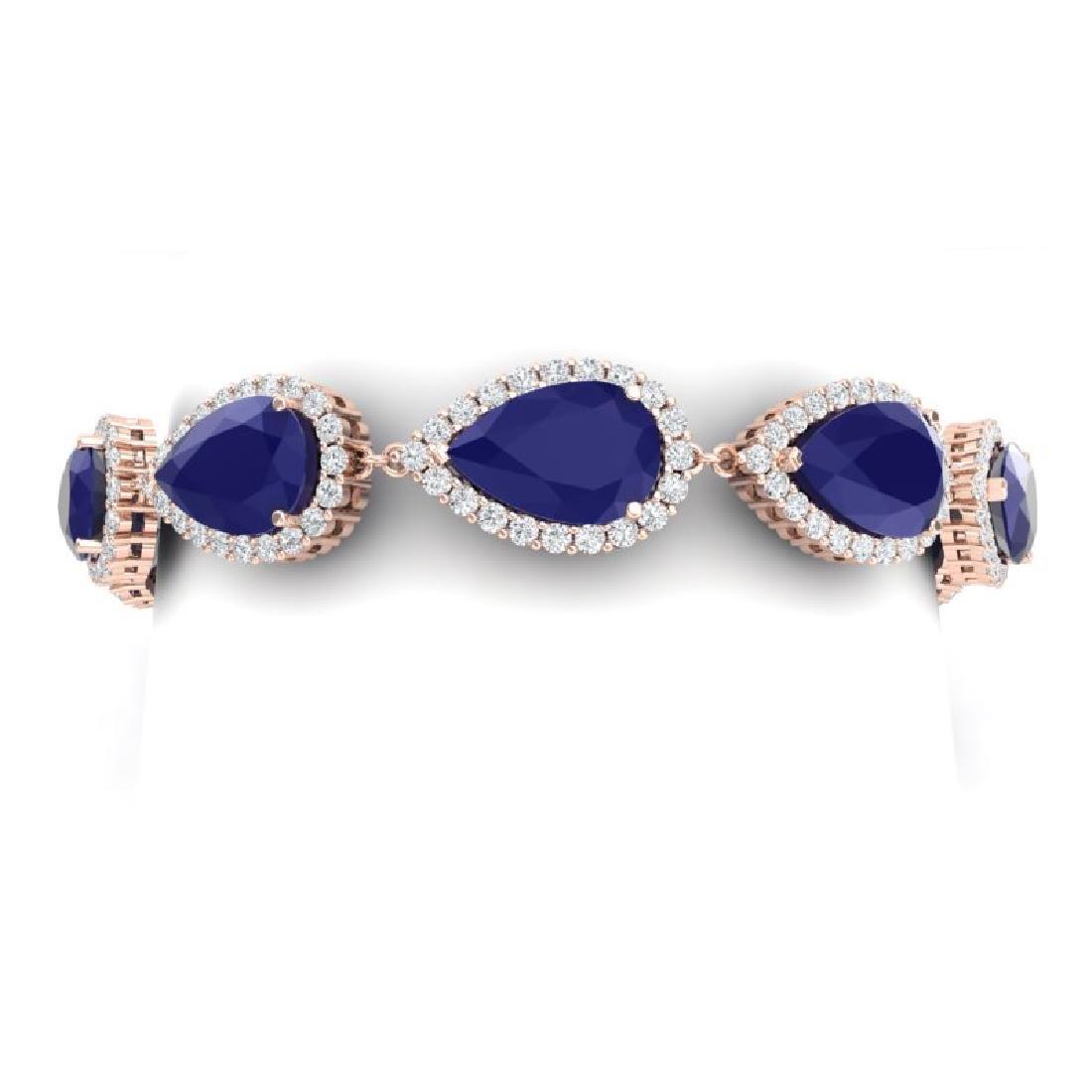 42 CTW Royalty Sapphire & VS Diamond Bracelet 18K Rose