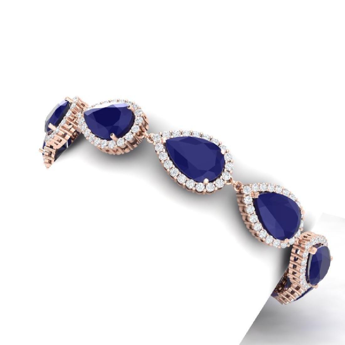 42 CTW Royalty Sapphire & VS Diamond Bracelet 18K Rose - 2