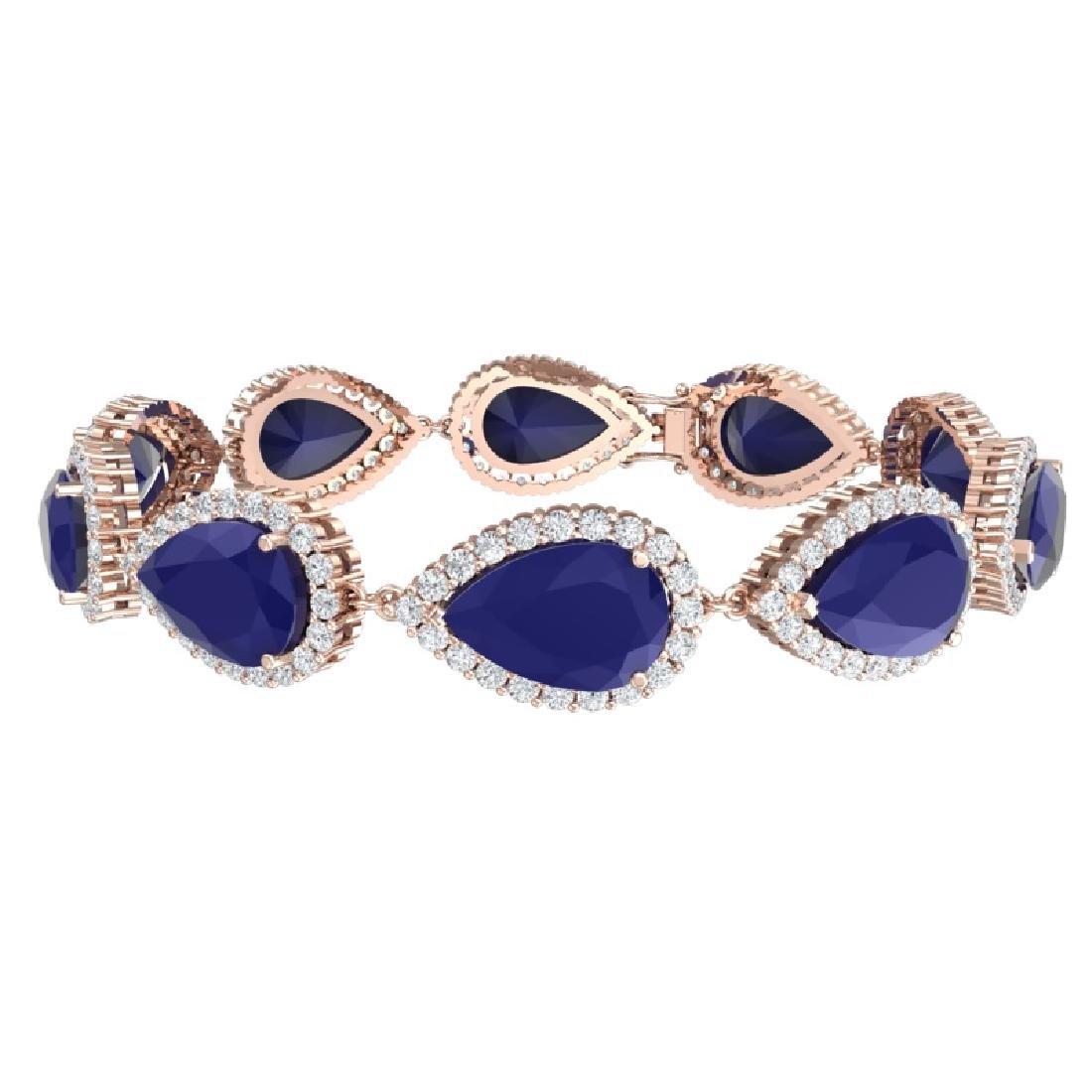 42 CTW Royalty Sapphire & VS Diamond Bracelet 18K Rose - 3