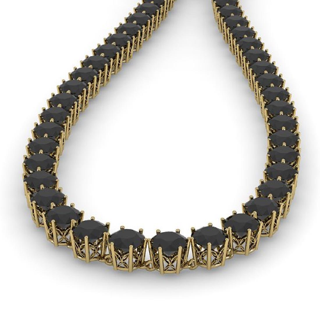 36 CTW Certified Black VS Diamond Necklace 18K Yellow