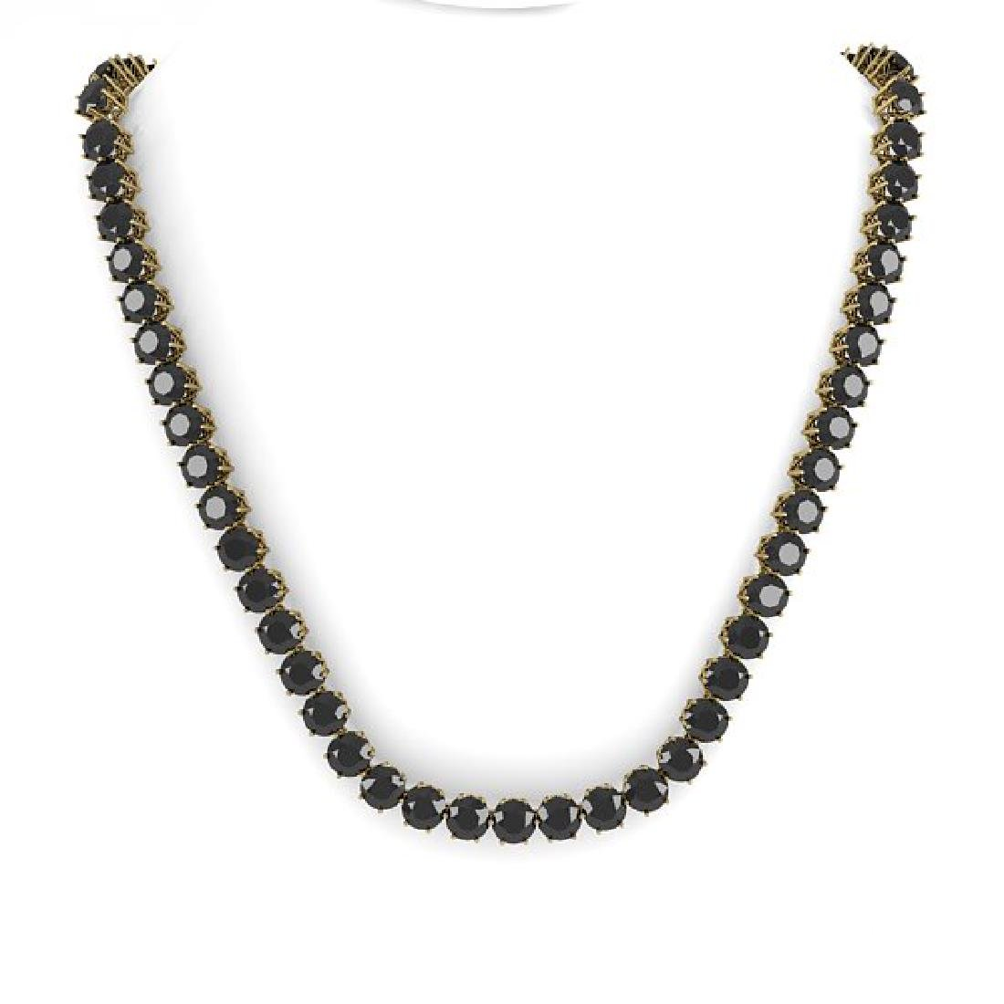 36 CTW Certified Black VS Diamond Necklace 18K Yellow - 2