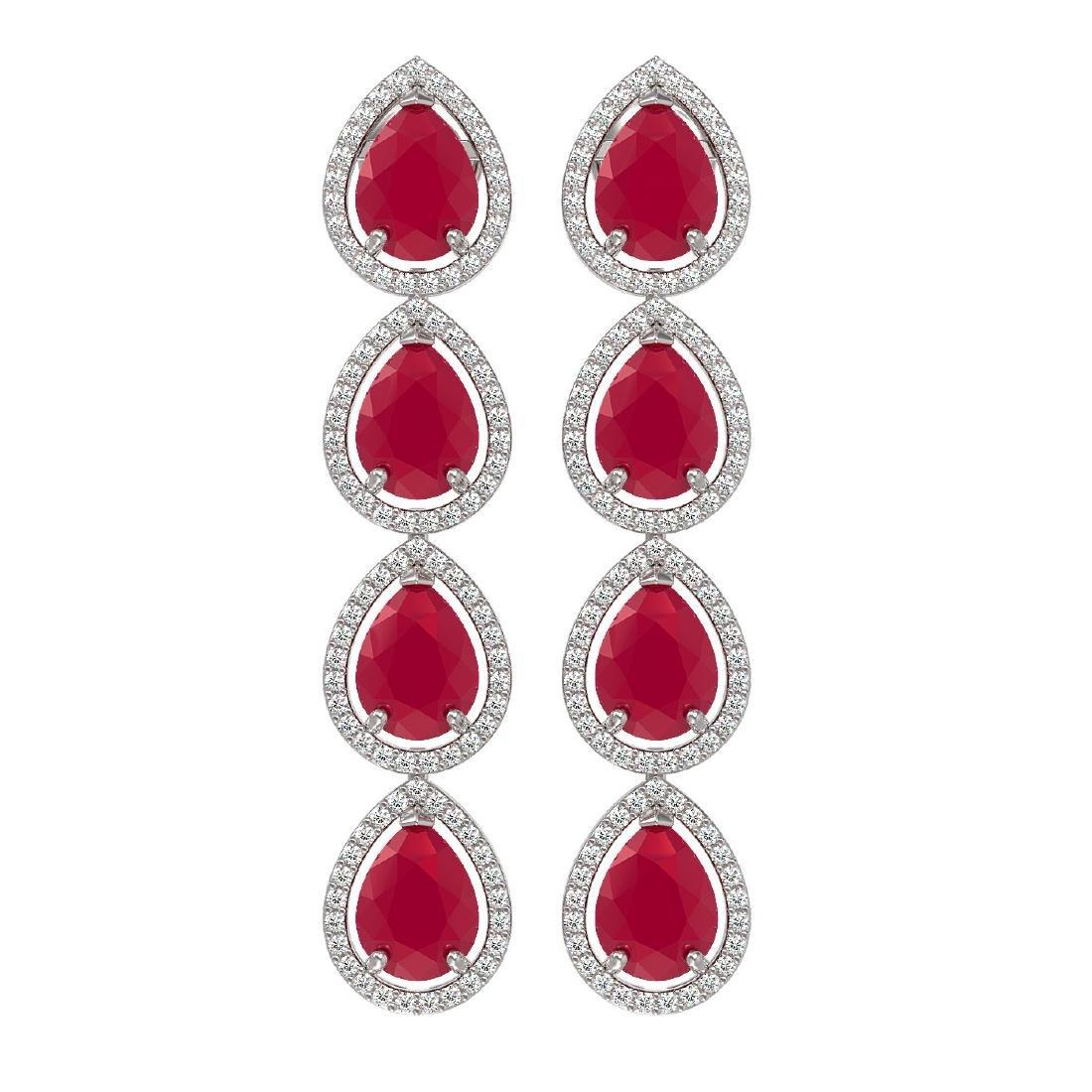 16.01 CTW Ruby & Diamond Halo Earrings 10K White Gold