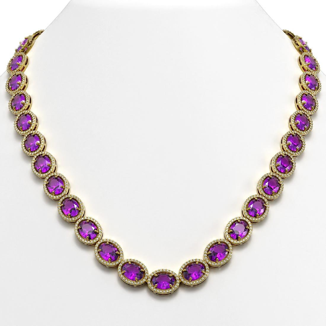 57.07 CTW Amethyst & Diamond Halo Necklace 10K Yellow