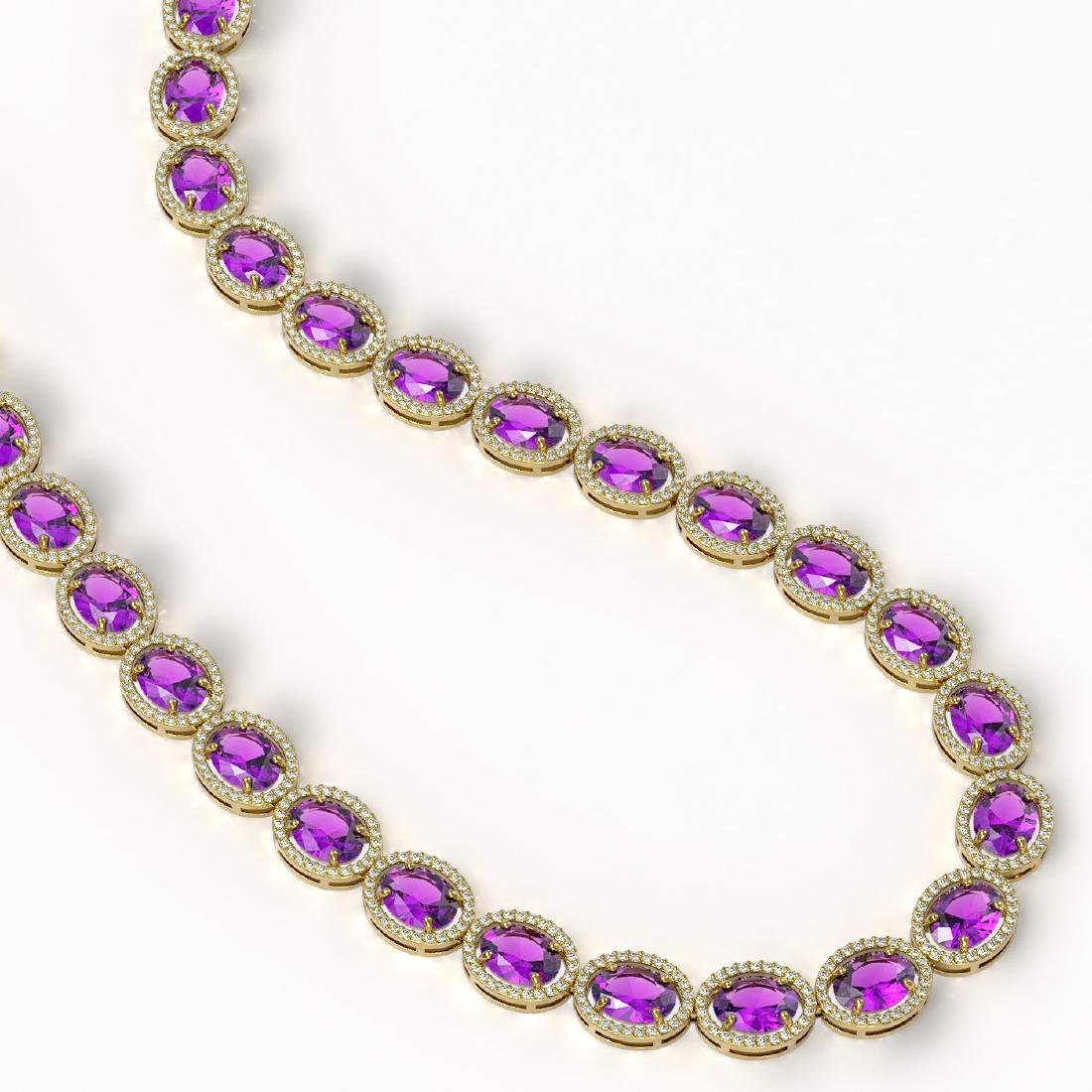 57.07 CTW Amethyst & Diamond Halo Necklace 10K Yellow - 2