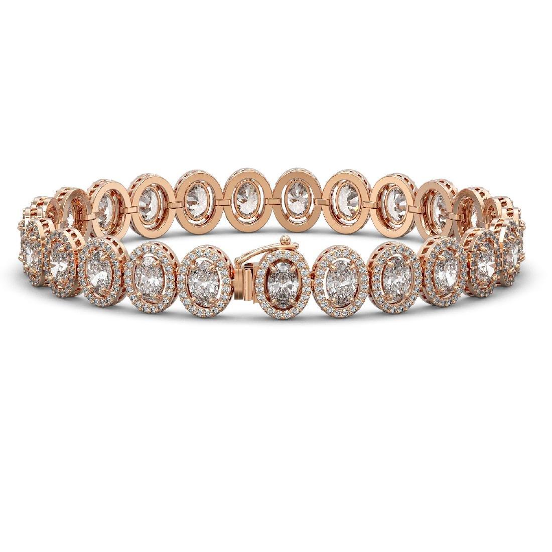 18.8 CTW Oval Diamond Designer Bracelet 18K Rose Gold - 2