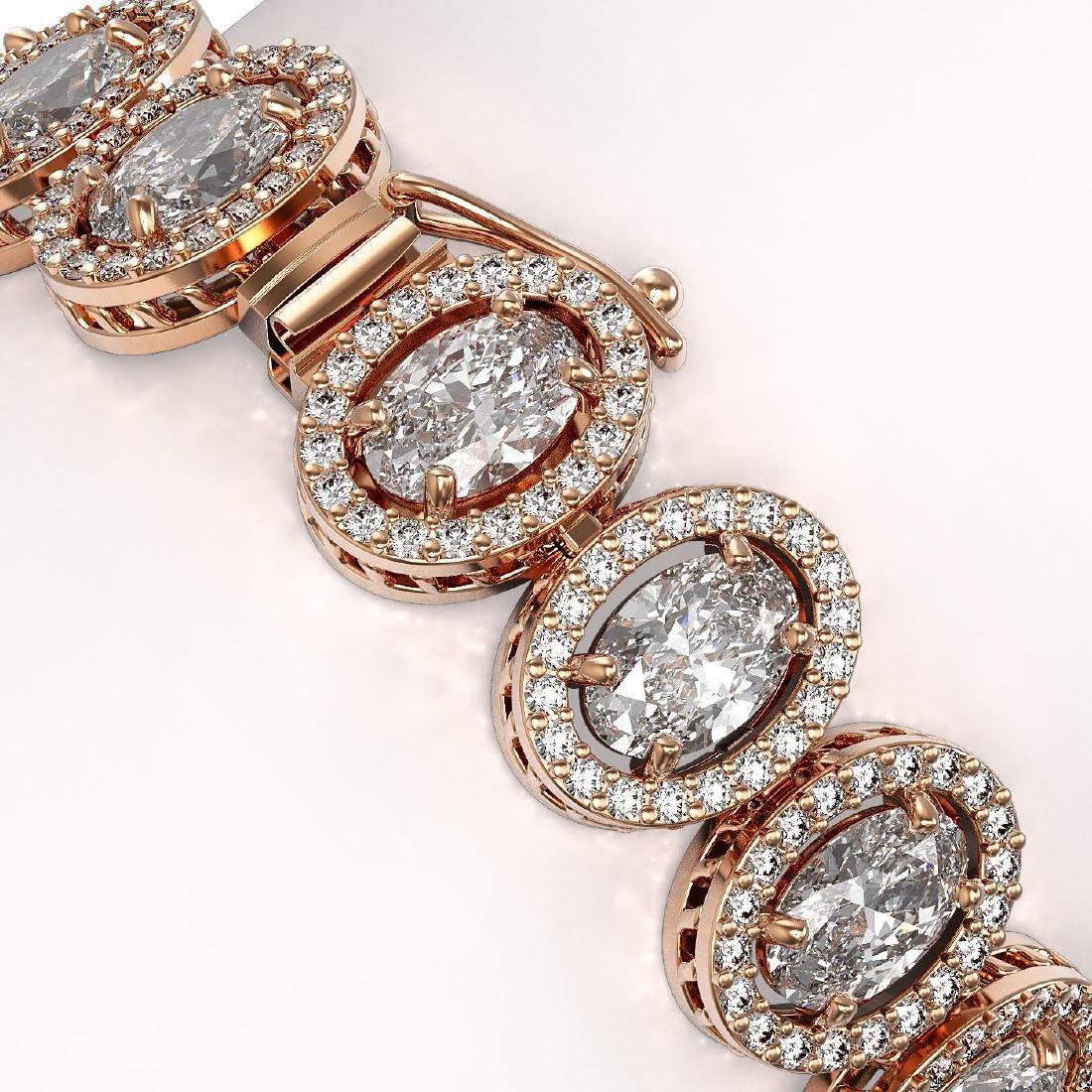 18.8 CTW Oval Diamond Designer Bracelet 18K Rose Gold - 3