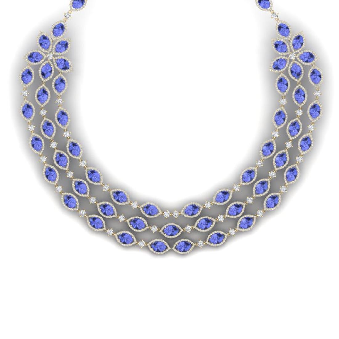 79.33 CTW Royalty Tanzanite & VS Diamond Necklace 18K - 2