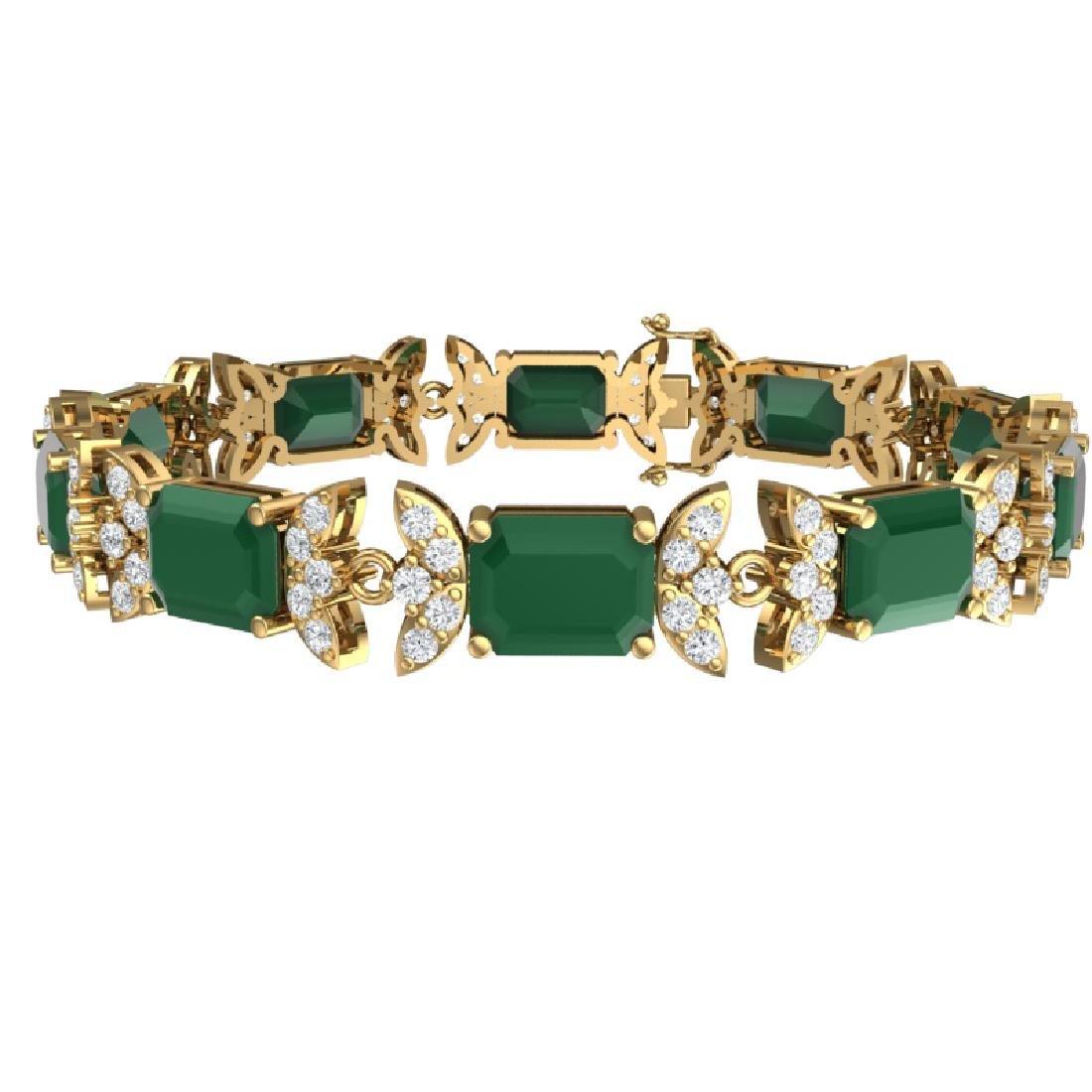 38.13 CTW Royalty Emerald & VS Diamond Bracelet 18K - 3