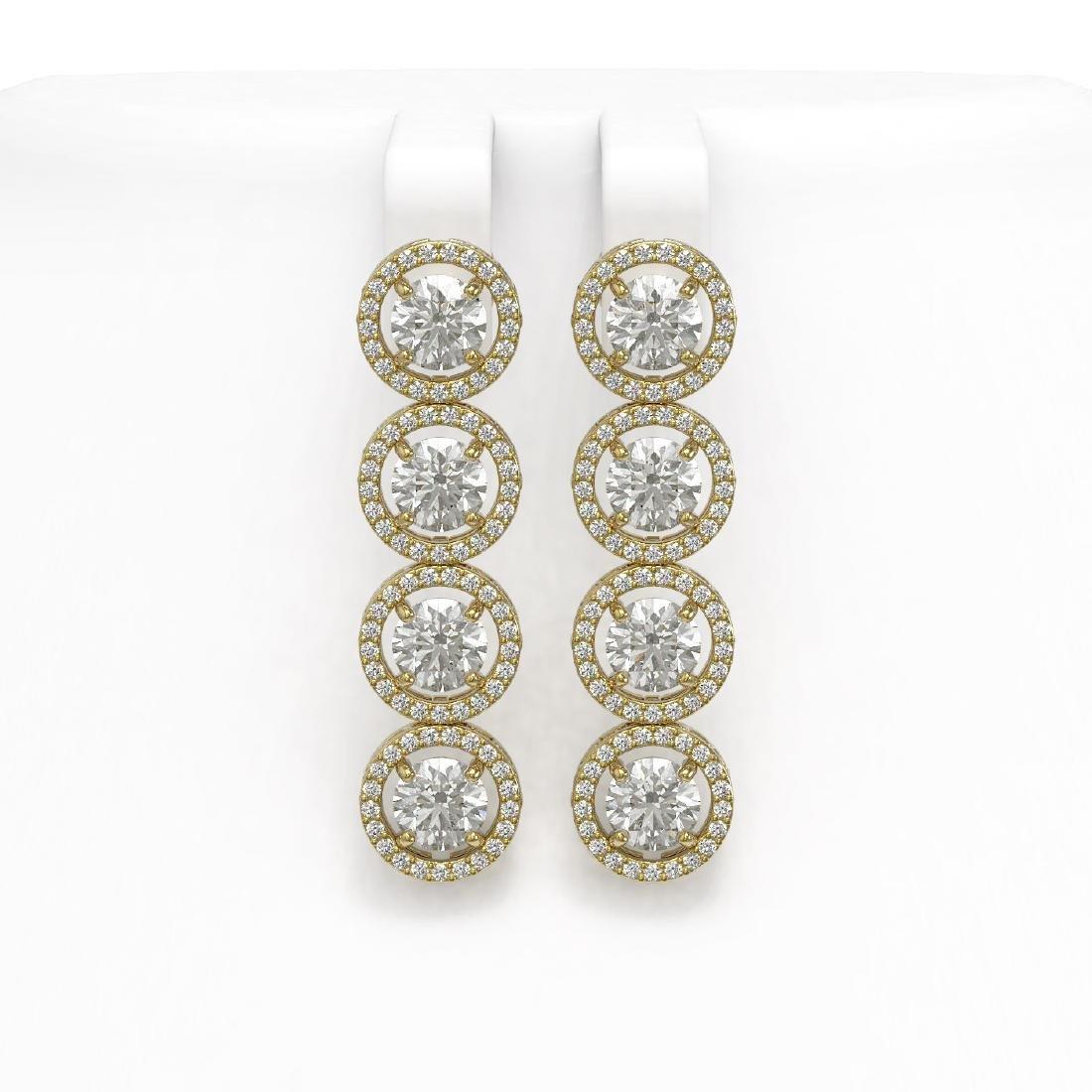 6.14 CTW Diamond Designer Earrings 18K Yellow Gold