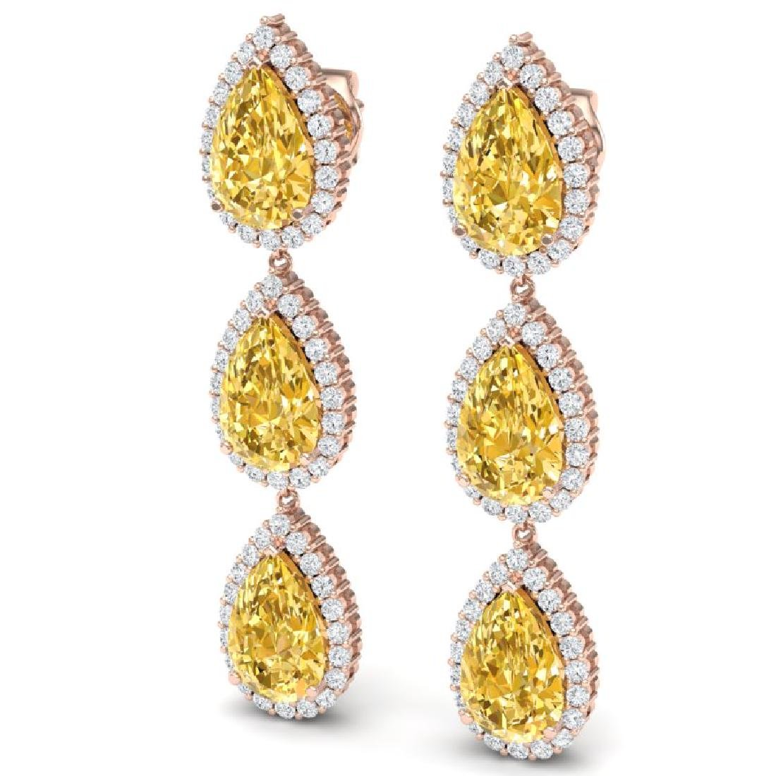 24.23 CTW Royalty Canary Citrine & VS Diamond Earrings - 2