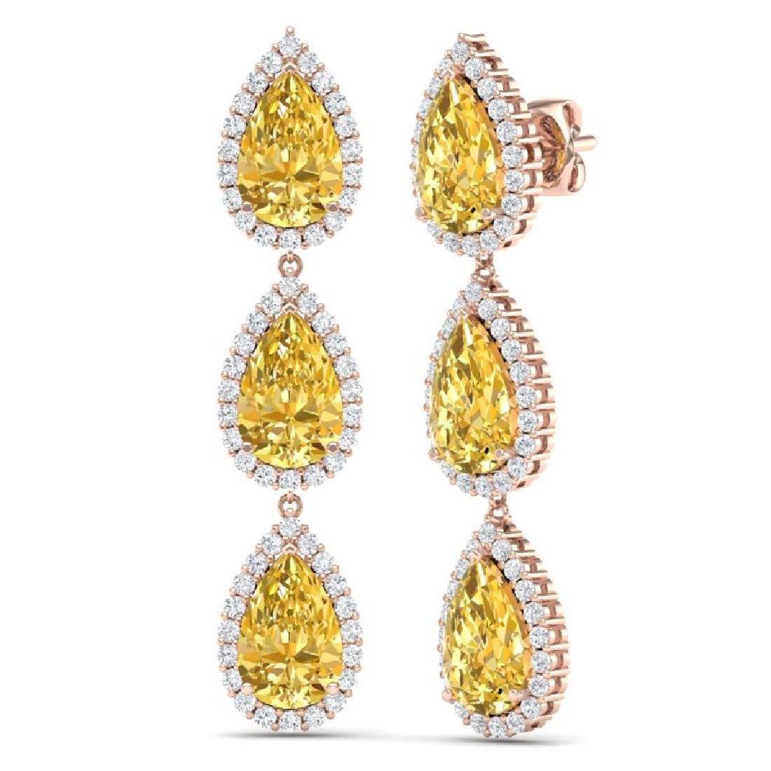 24.23 CTW Royalty Canary Citrine & VS Diamond Earrings - 3