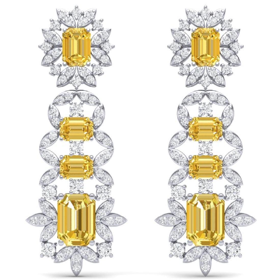27.75 CTW Royalty Canary Citrine & VS Diamond Earrings