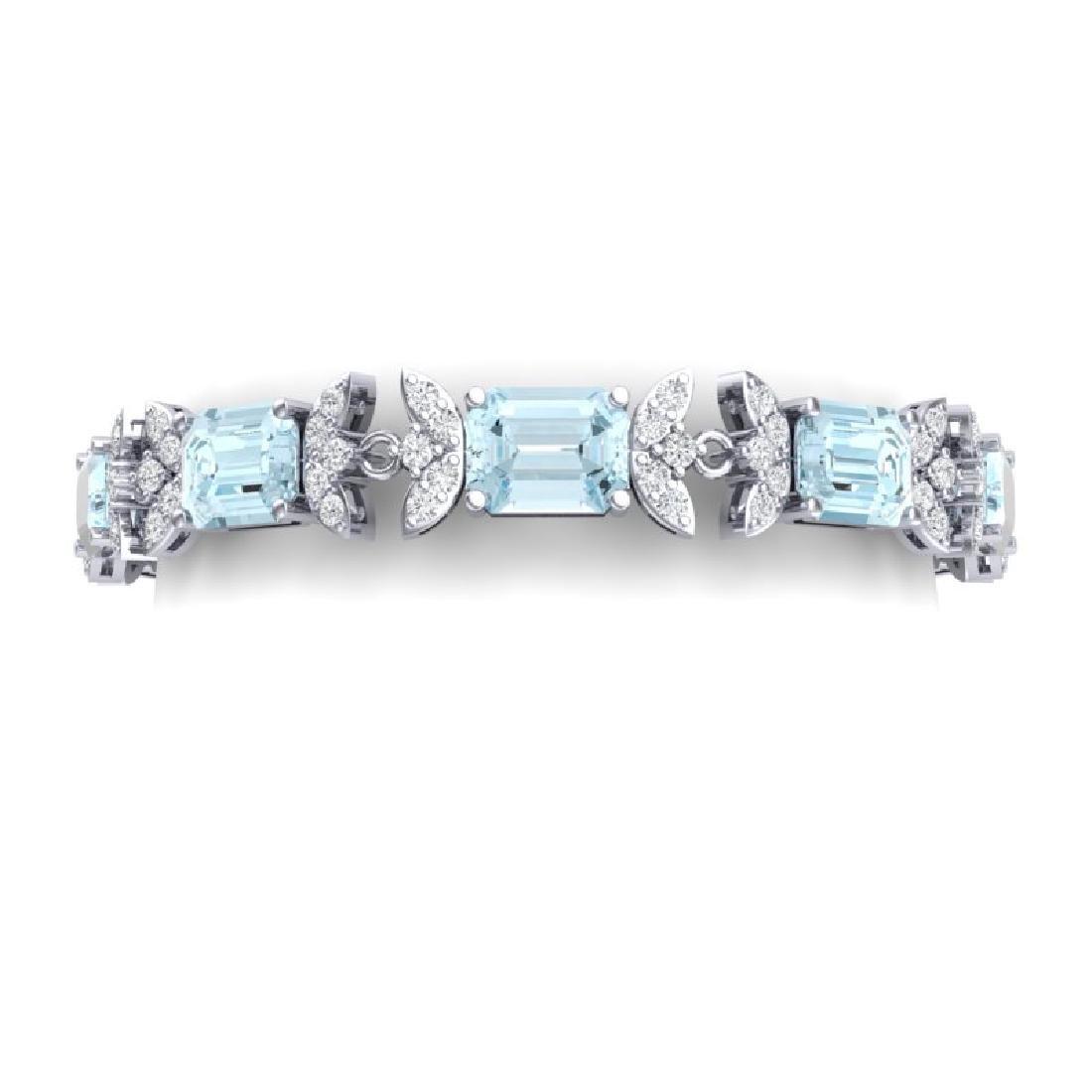 39.65 CTW Royalty Sky Topaz & VS Diamond Bracelet 18K