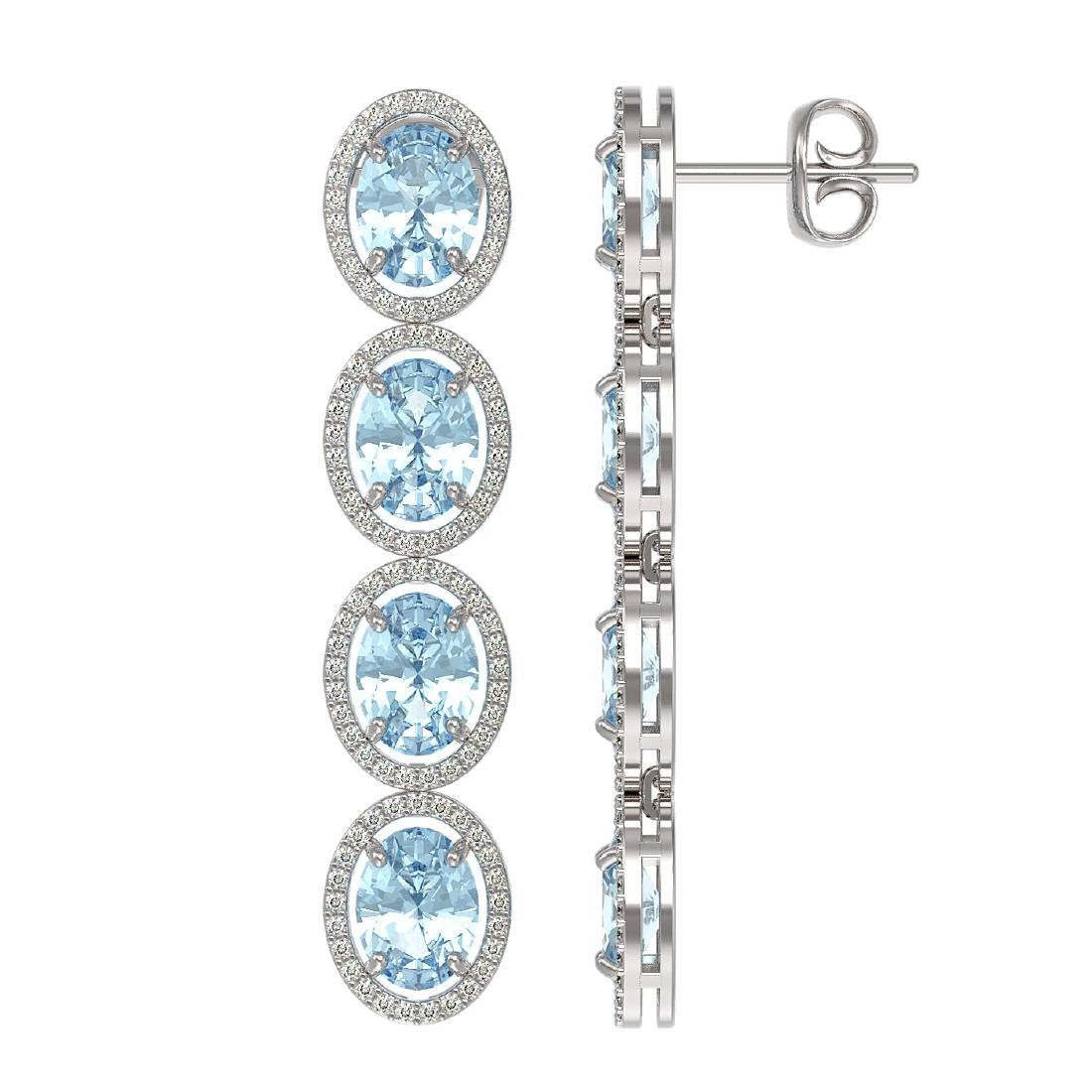 11.72 CTW Aquamarine & Diamond Halo Earrings 10K White - 2