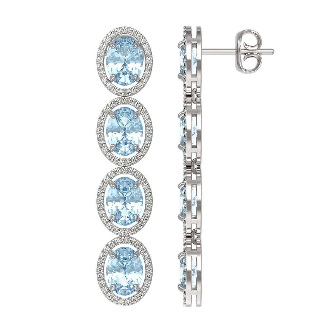 11.72 CTW Aquamarine & Diamond Halo Earrings 10K White - 2