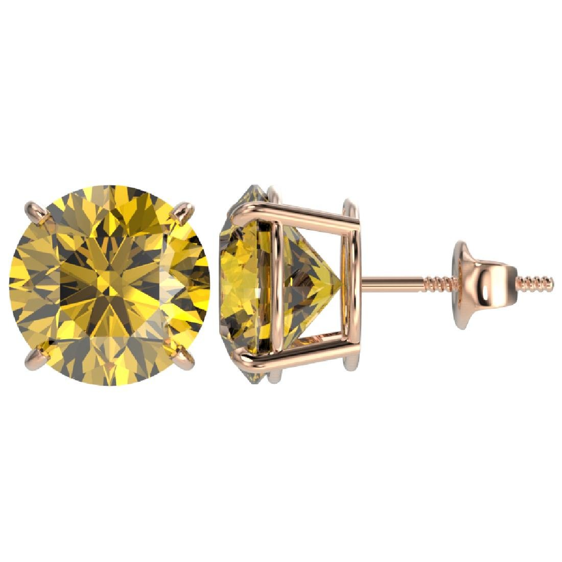 5 CTW Certified Intense Yellow SI Diamond Solitaire - 2