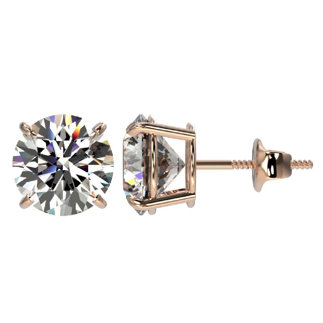 3.05 CTW Certified H-I Quality Diamond Stud Earrings - 2