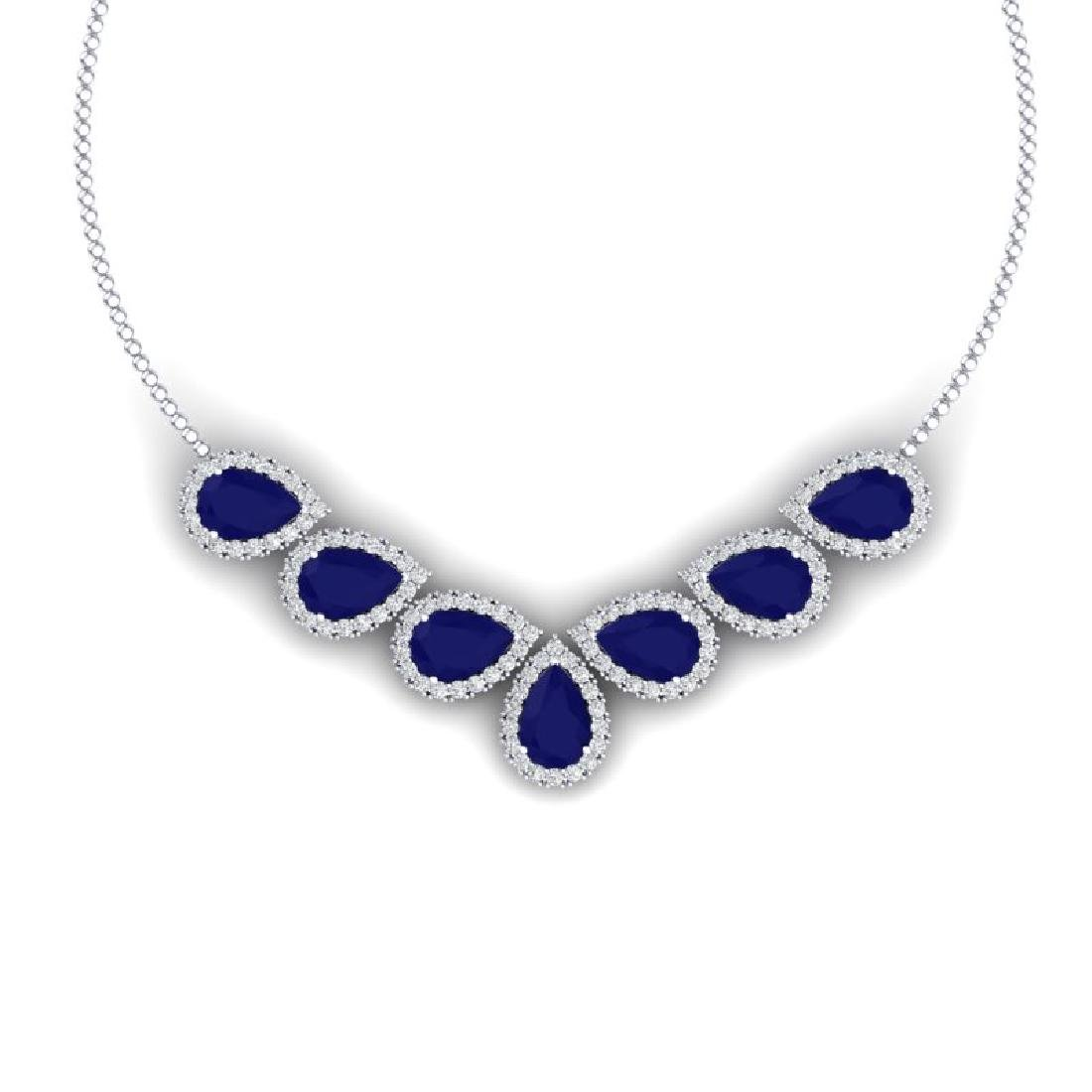 34.72 CTW Royalty Sapphire & VS Diamond Necklace 18K
