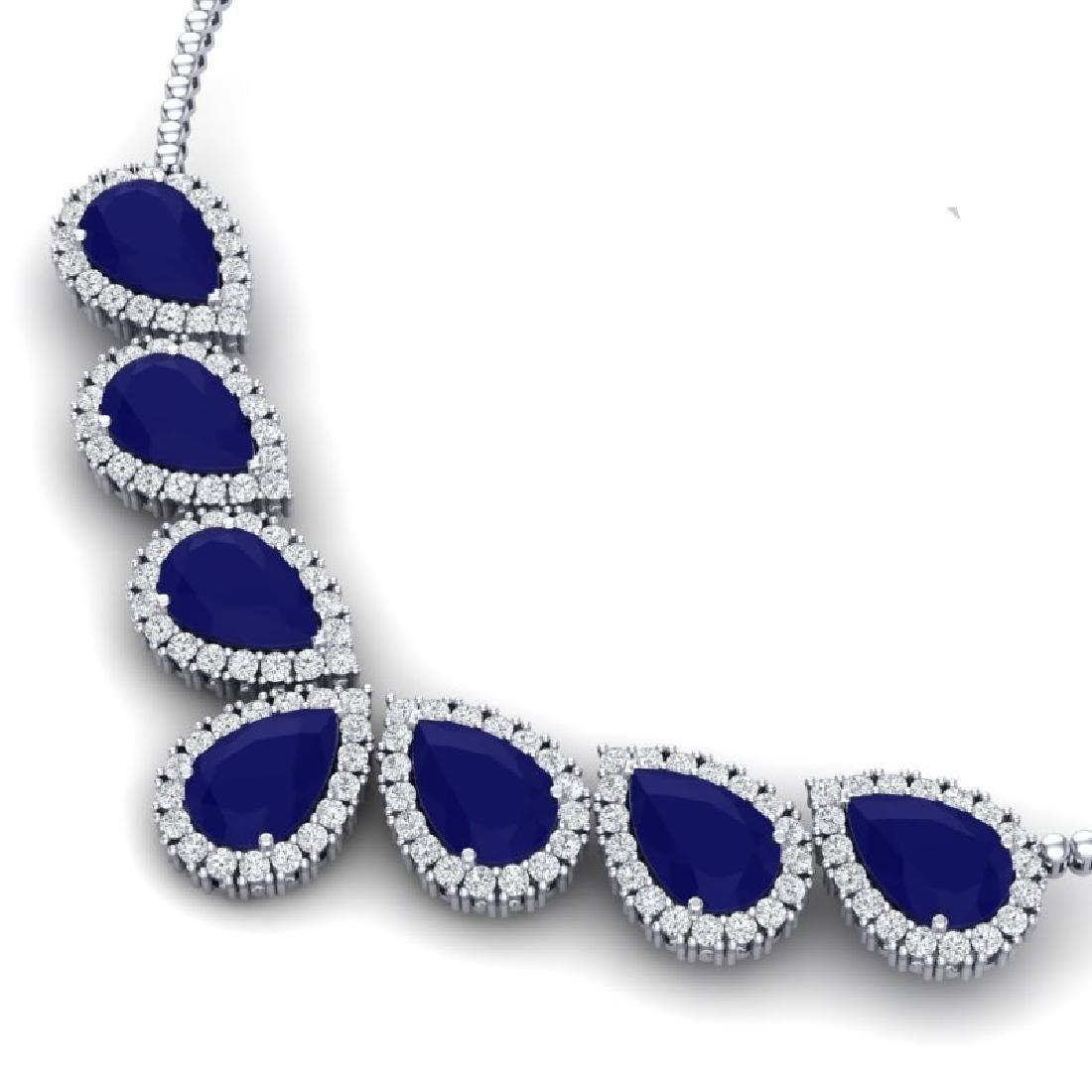 34.72 CTW Royalty Sapphire & VS Diamond Necklace 18K - 2