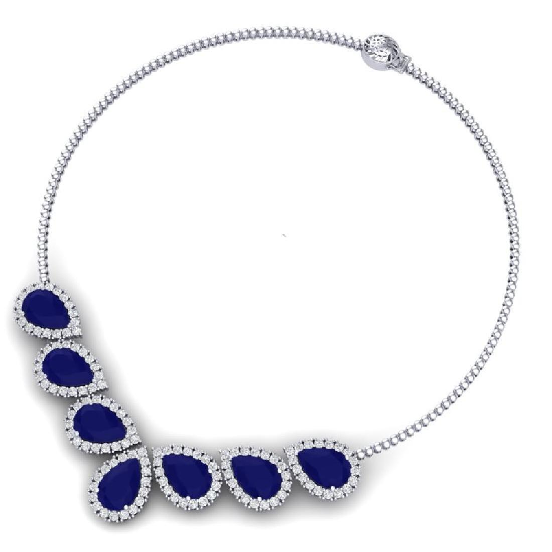 34.72 CTW Royalty Sapphire & VS Diamond Necklace 18K - 3