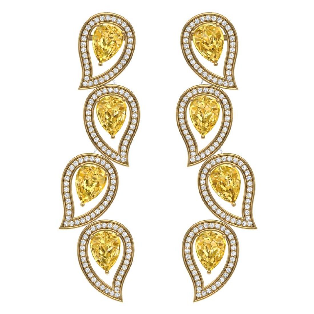14.63 CTW Royalty Canary Citrine & VS Diamond Earrings