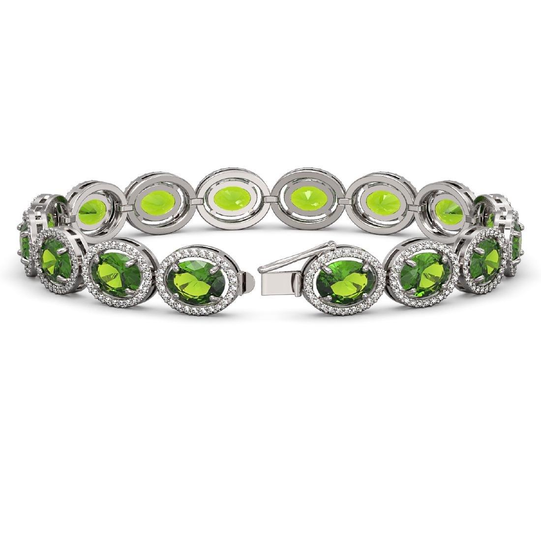 28.08 CTW Peridot & Diamond Halo Bracelet 10K White - 2