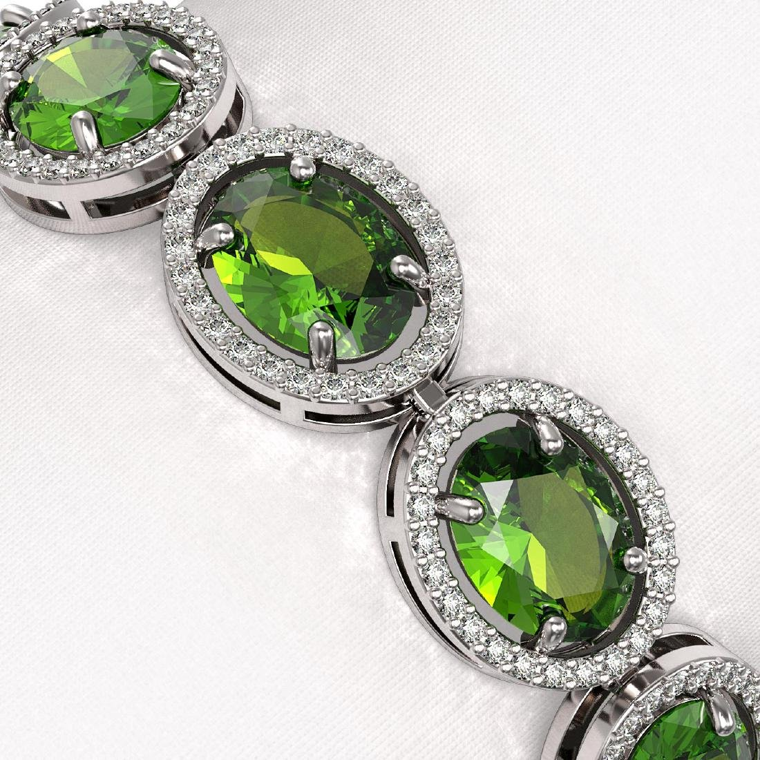 28.08 CTW Peridot & Diamond Halo Bracelet 10K White - 3