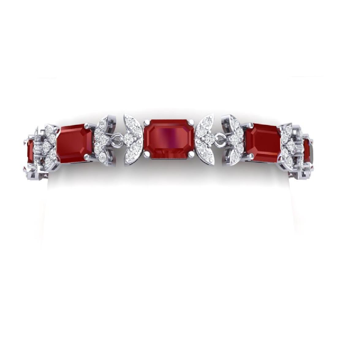 38.13 CTW Royalty Ruby & VS Diamond Bracelet 18K White