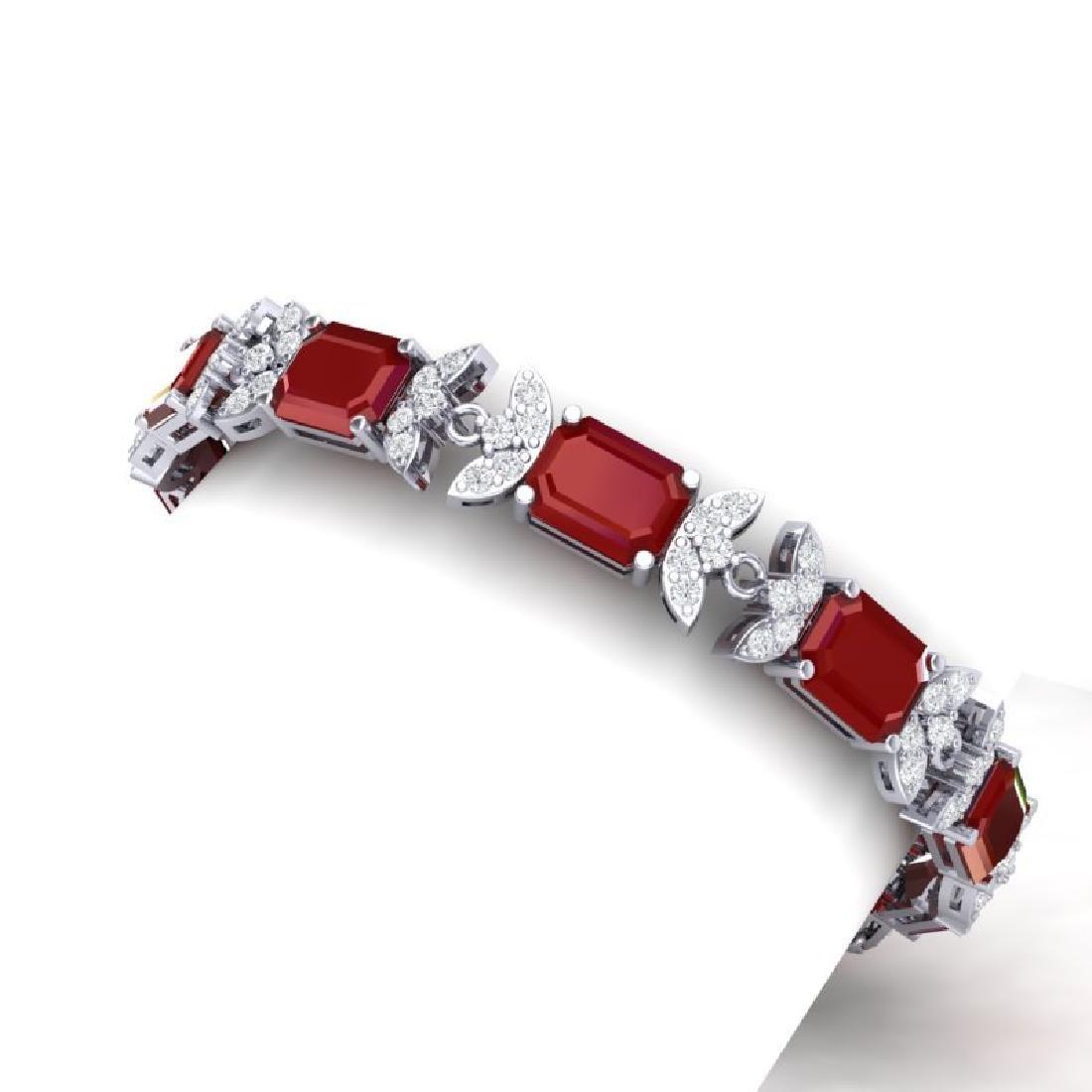 38.13 CTW Royalty Ruby & VS Diamond Bracelet 18K White - 2