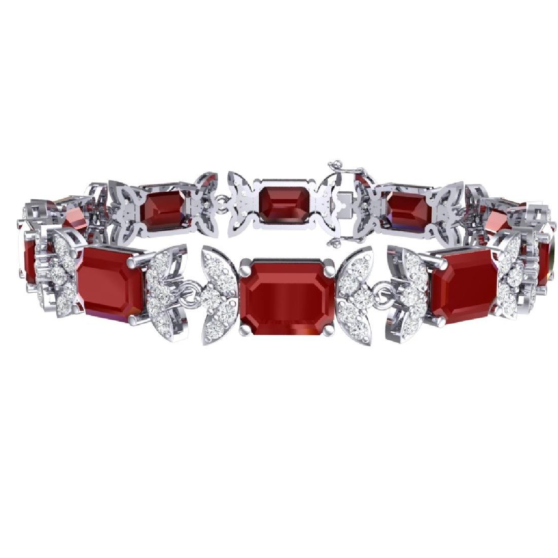 38.13 CTW Royalty Ruby & VS Diamond Bracelet 18K White - 3