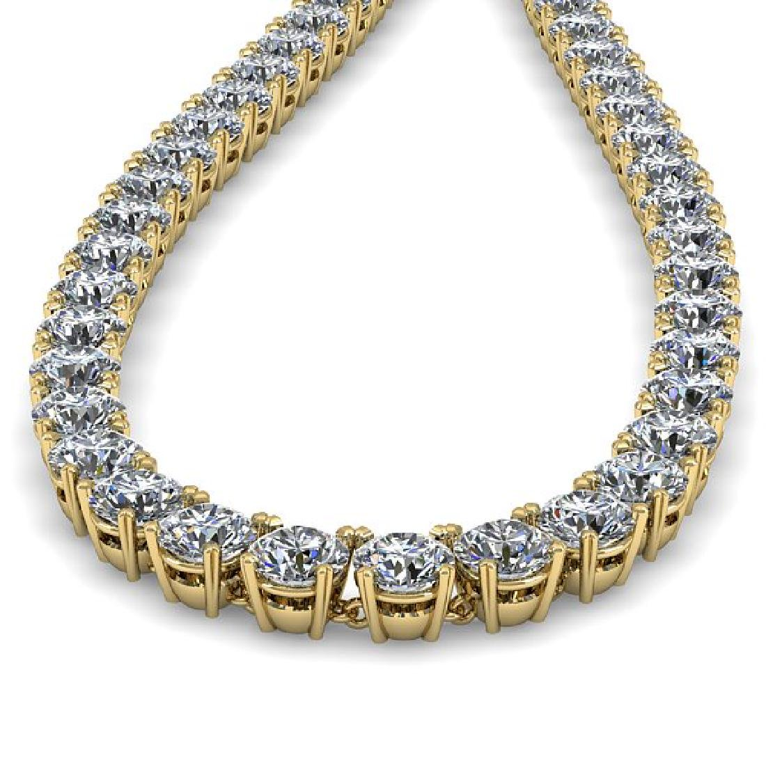 34 CTW Certified SI Diamond Necklace 14K Yellow Gold - 2