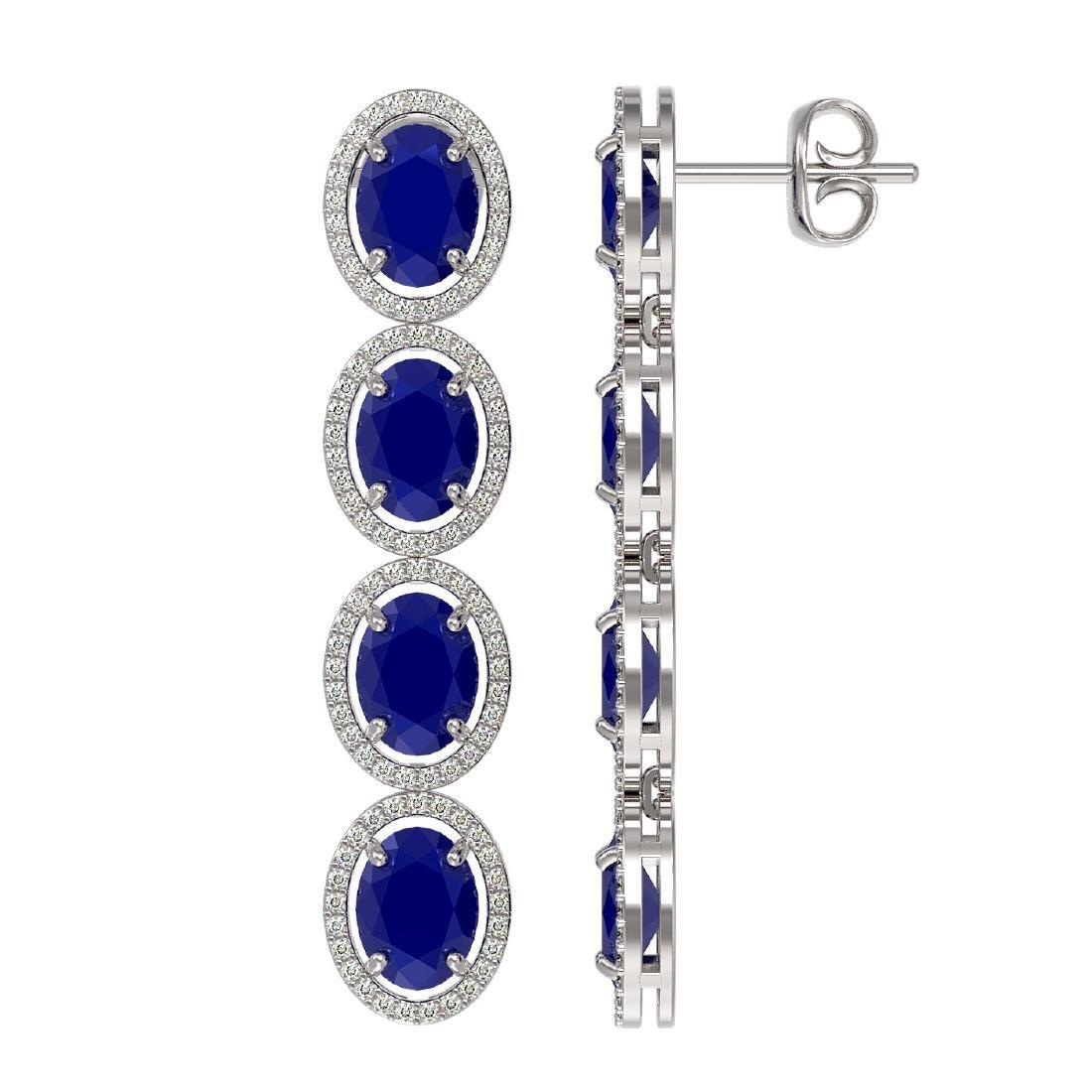 15.68 CTW Sapphire & Diamond Halo Earrings 10K White - 2