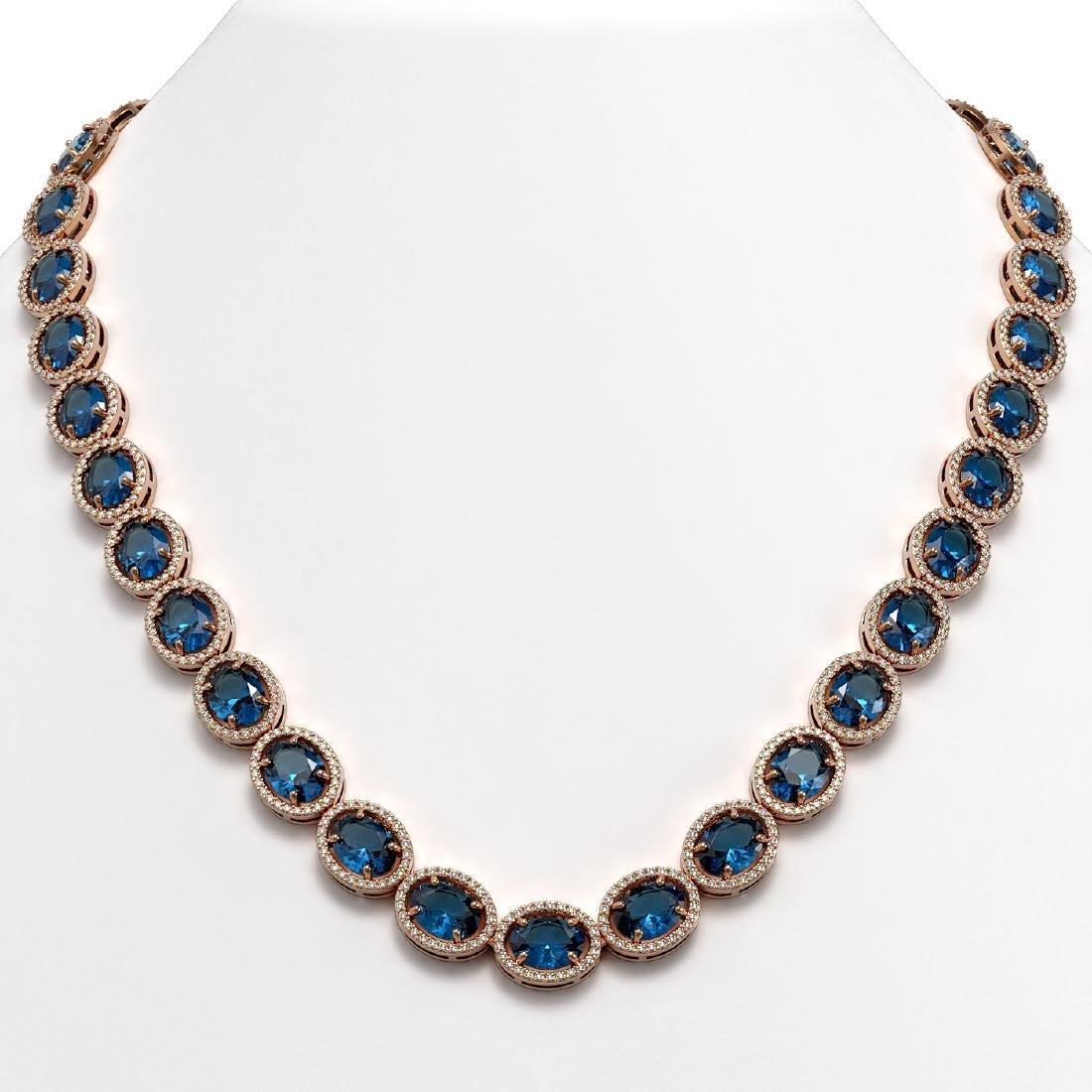 68.17 CTW London Topaz & Diamond Halo Necklace 10K Rose