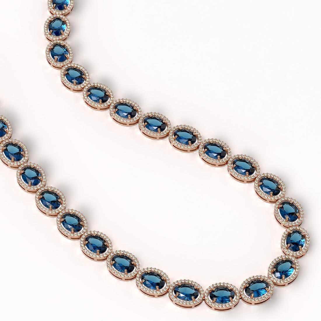 68.17 CTW London Topaz & Diamond Halo Necklace 10K Rose - 2