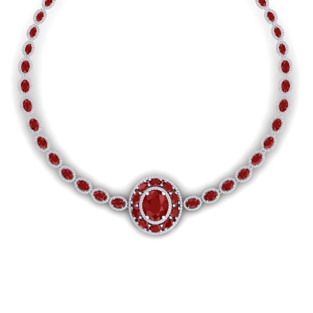 43.54 CTW Royalty Ruby & VS Diamond Necklace 18K White - 2
