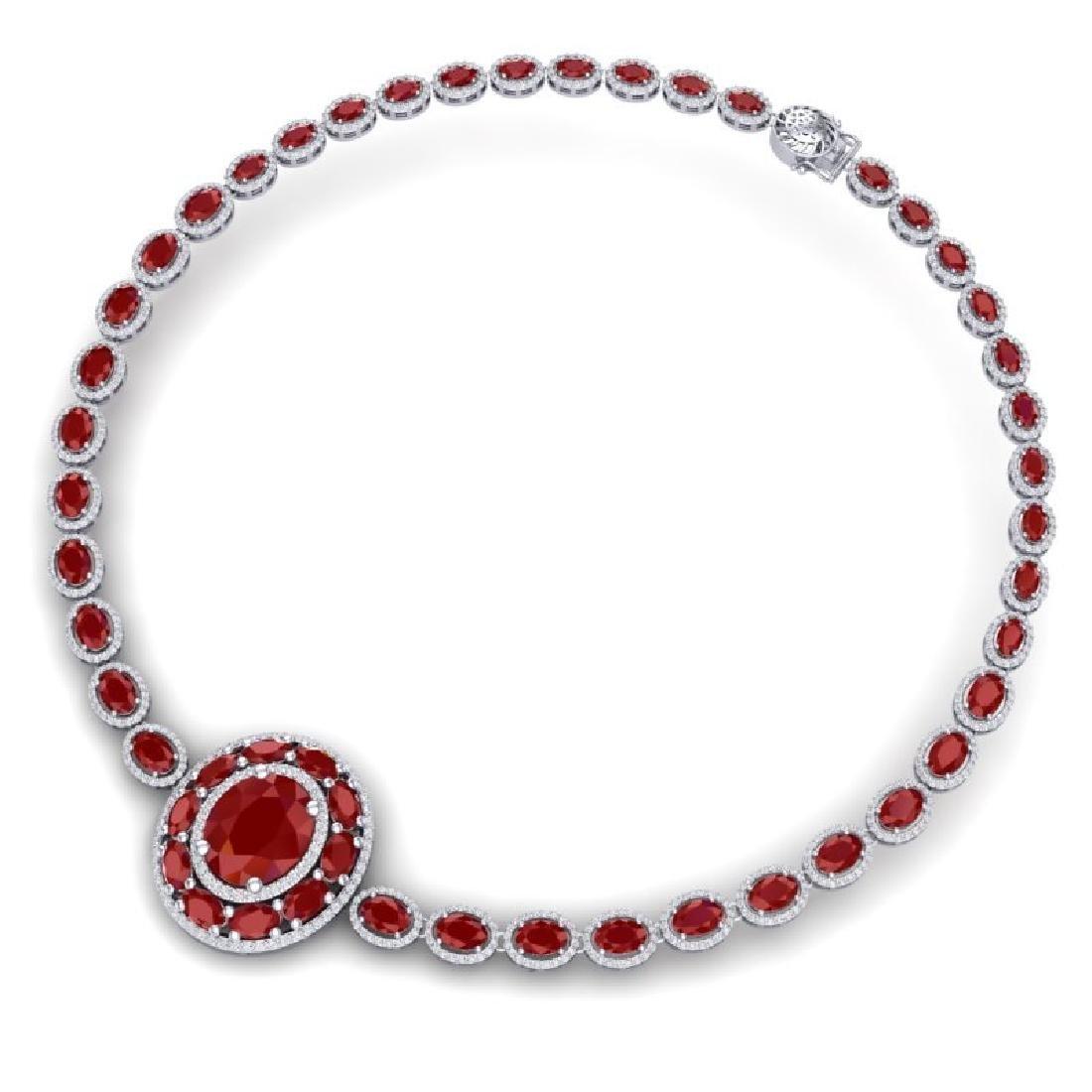43.54 CTW Royalty Ruby & VS Diamond Necklace 18K White - 3
