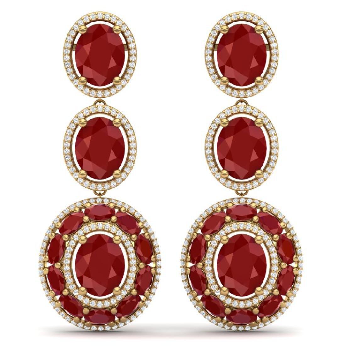 32.84 CTW Royalty Designer Ruby & VS Diamond Earrings