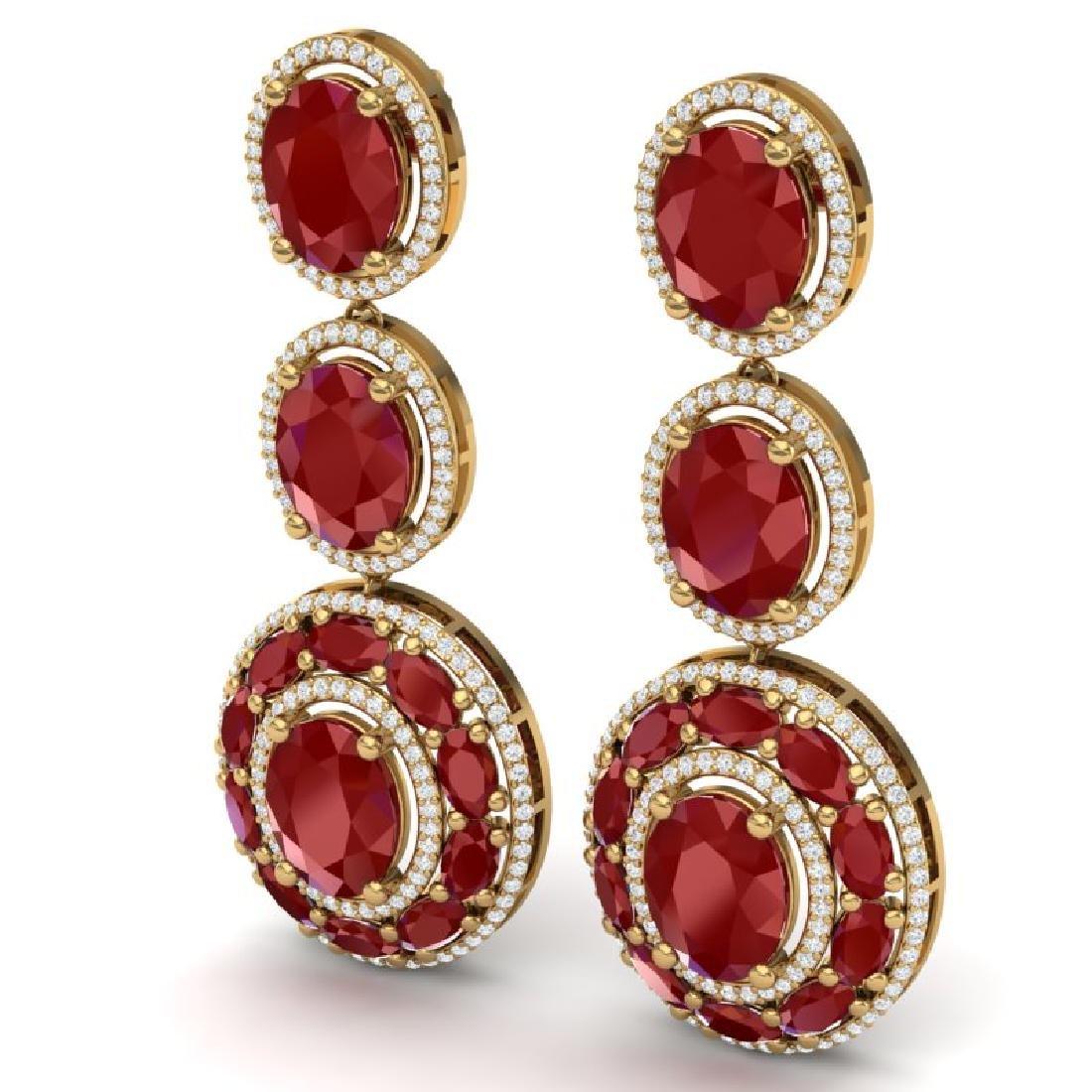 32.84 CTW Royalty Designer Ruby & VS Diamond Earrings - 2