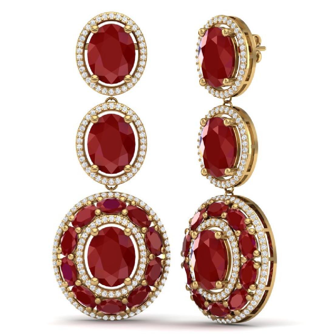 32.84 CTW Royalty Designer Ruby & VS Diamond Earrings - 3
