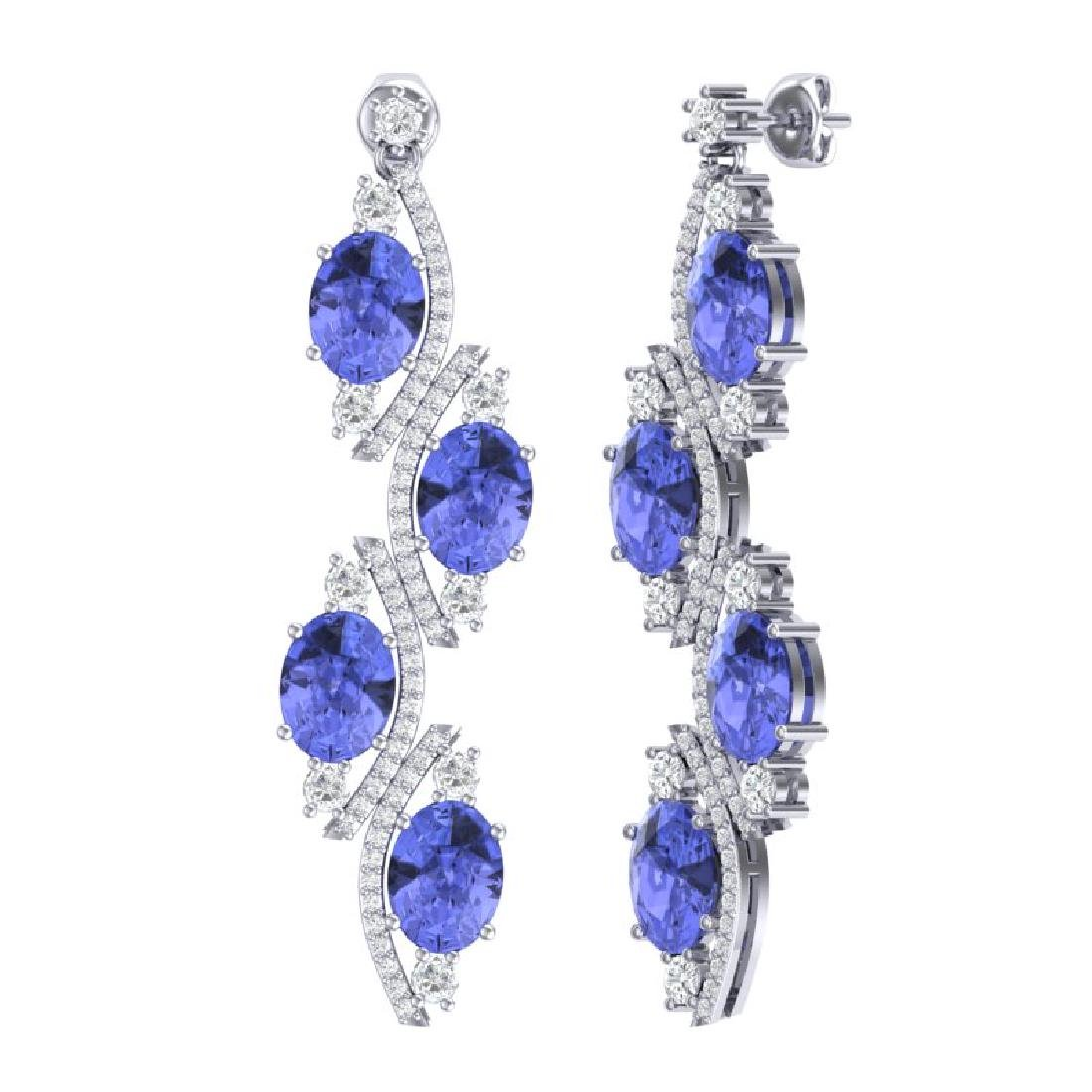 16.23 CTW Royalty Tanzanite & VS Diamond Earrings 18K - 3