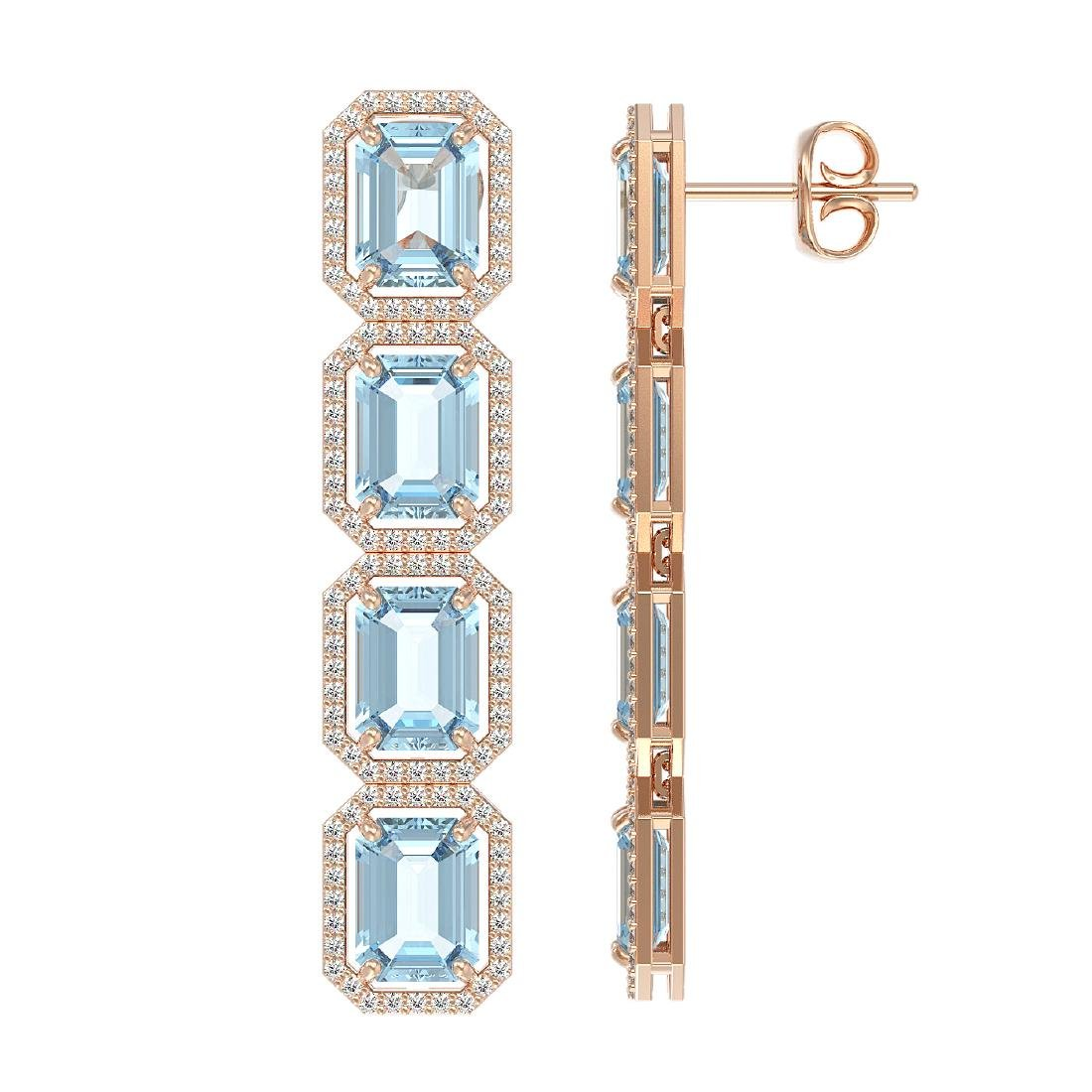 18.99 CTW Sky Topaz & Diamond Halo Earrings 10K Rose - 2